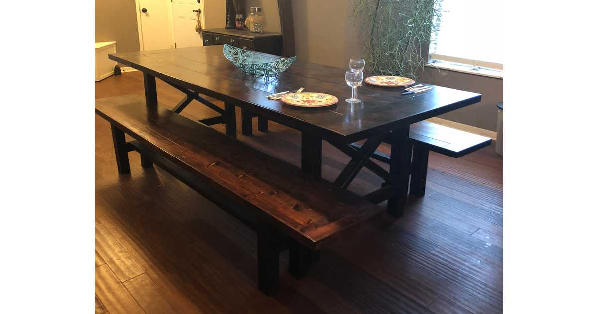 Auction Page | Handmade Farm Table U0026 One Farm Table Bench Built By Richard  Aligo.